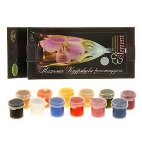 Краска по стеклу и керамике, ЭМАЛЬ, набор, 12 цветов х 4 мл, Element №1, морозостойкая