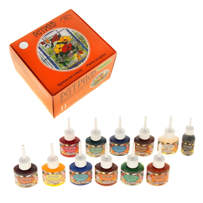 Краска по стеклу витражная, набор, 11 цветов х 25 мл + контур х 18 мл, морозостойкая