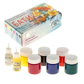 "Acrylic fabric dye, set of 6 colors, 40 ml each, ""Aqua-Color"", ""Batik"" + reserve 18 ml + contour 18 ml."