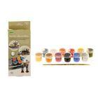 Краска акриловая, набор тематический, 12 цветов по 4 мл, Аква-Колор для росписи моделей, глянцевые, с кистью