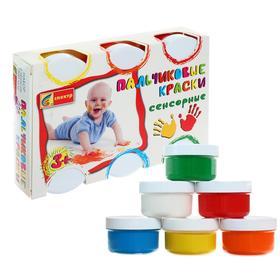 Краски пальчиковые, набор 6 цветов х 60 мл, «Спектр», 360 мл, сенсорные (от 3-х лет)