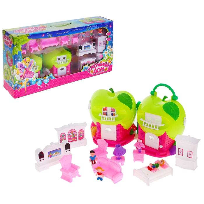 """Дом для кукол """"Яблочко"""" складной, с мебелью и куколками, световые и звуковые эффекты"""