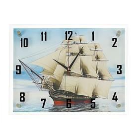"""Часы настенные, серия: Море, """"Корабль"""", стекло, 35х45  см, микс"""