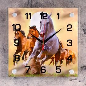 Часы настенные квадратные 'Кони', 25х25 см микс Ош