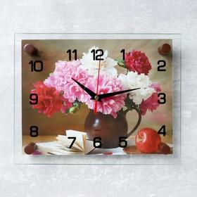 Часы настенные прямоугольные 'Пионы', стекло, 20х26 см микс Ош