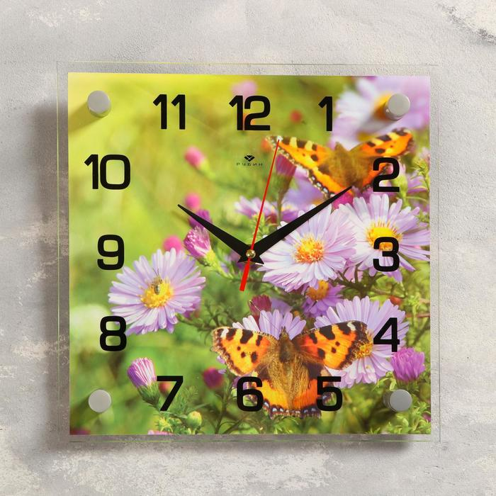 "Часы настенные, серия: Цветы, ""Бабочки на цветках"", 25х25  см, микс"