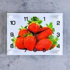 """Часы настенные прямоугольные """"Клубника"""", стекло, 20х26 см микс"""