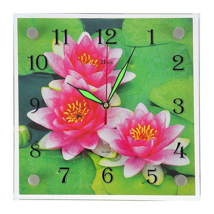 """Часы настенные, серия: Цветы, """"Кувшинки"""", 25х25  см, микс"""
