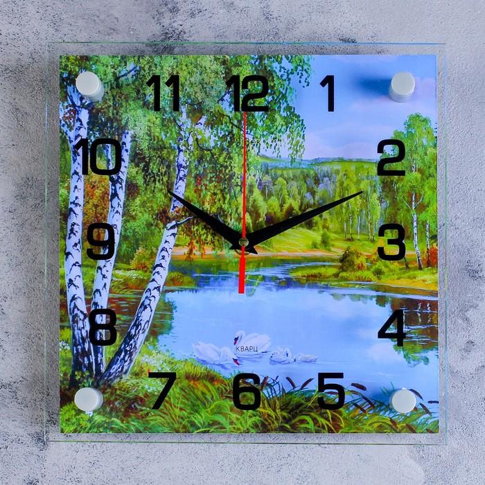 """Часы настенные, серия: Природа, """"Озеро"""", стекло, 25х25  см, микс"""