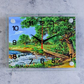 Часы настенные прямоугольные 'Горная река', стекло, 20х26 см микс Ош