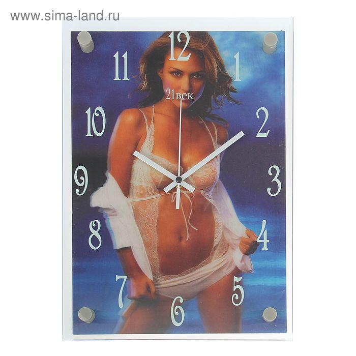 """Часы настенные прямоугольные """"Девушка в белье"""", 3D, микс 25х35 см"""