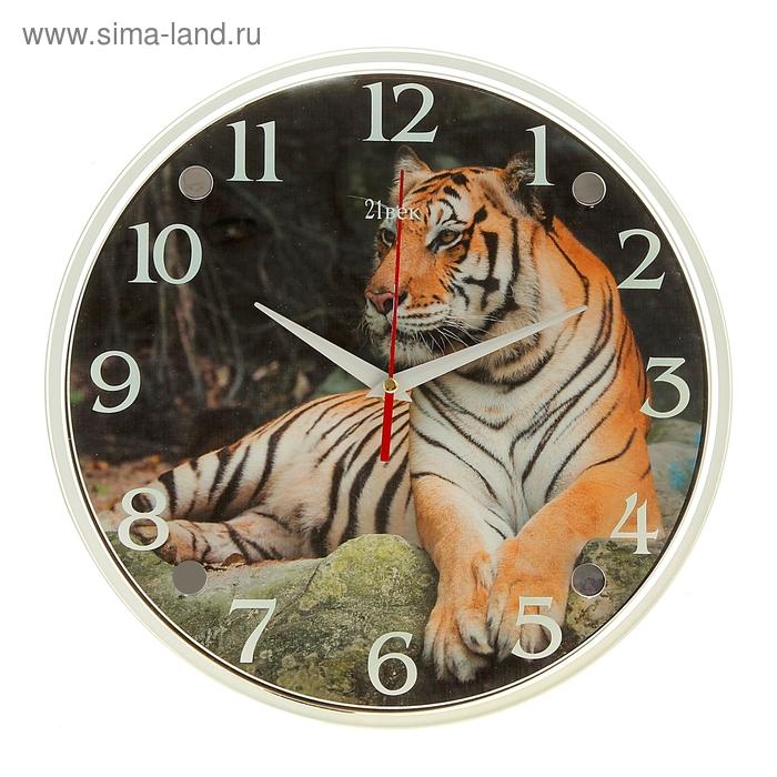 "Часы настенные круглые ""Тигры"", стекло, 30х30 см"