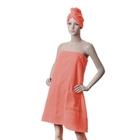 Компл./сауна ITUMA жен. Персик (юбка, челма) махра, 380 гр/м