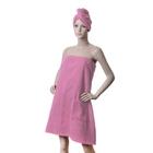 Компл./сауна ITUMA жен. Розовый (юбка, челма) махра, 380 гр/м
