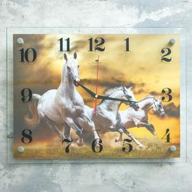 """Часы настенные, серия: Животный мир, """"Кони"""", 35х45  см, микс"""