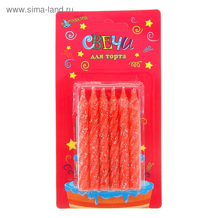 """Свечи восковые для торта с блестками """"Одноцветные"""" (набор 12 шт), цвет красный"""