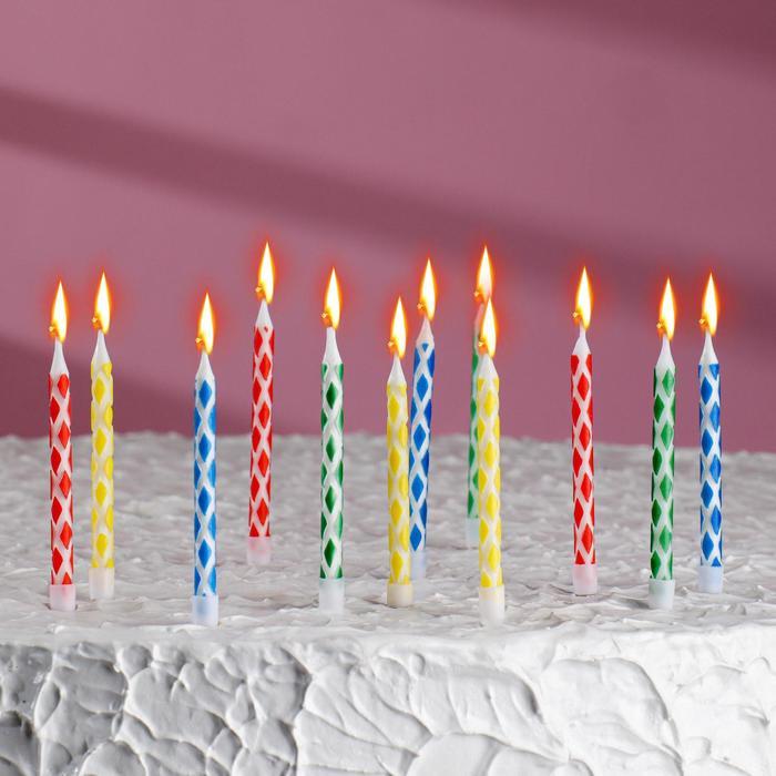 Свечи восковые для торта, в наборе 12 шт. с подставками, 6 × 0,5 см - фото 35609080