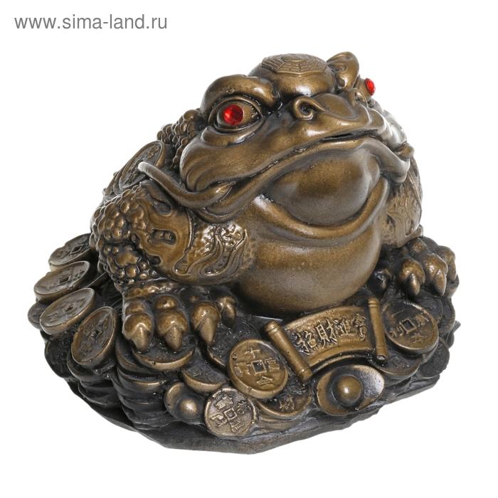 """Копилка """"Денежная жаба"""" стразы, античное золото"""