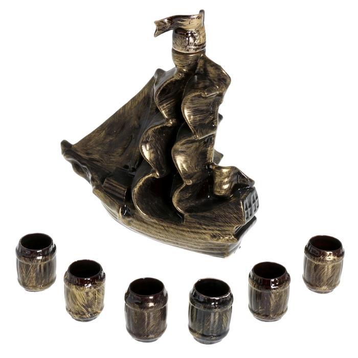 """Штоф с рюмками """"Парус"""", большой, 7 предметов, 1,8 л, бронза"""