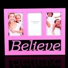 Фоторамка на 3 фото Believe, розовая, 10х15 см