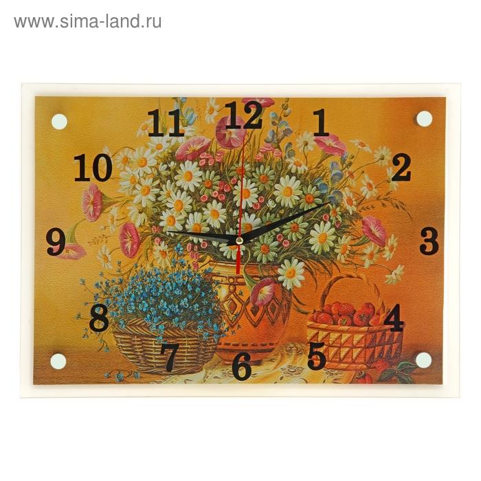 """Часы настенные прямоугольные """"Полевые цветы в горшке"""", 25х35 см"""