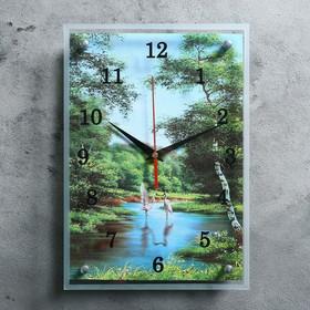 """Часы настенные прямоугольные """"Цапли"""", 25х35 см"""