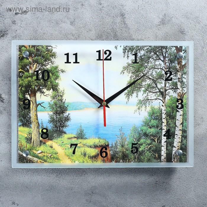 """Часы настенные прямоугольные """"Озеро"""", 25х35 см"""