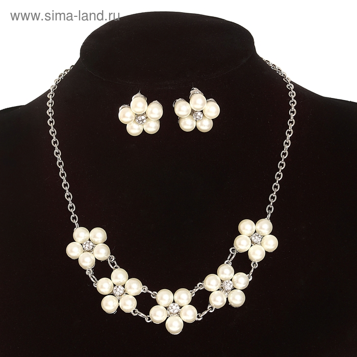 """Набор 2 предмета: серьги, колье """"Жемчужные цветы"""", цвет белый в серебре 45см"""
