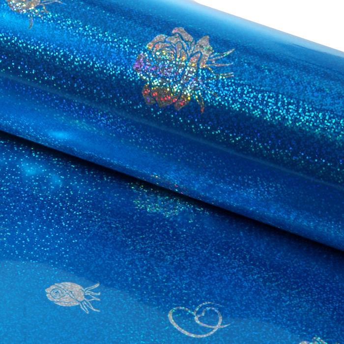 "Пленка голография ""Букет"", синий, 70 х 100 см"