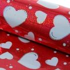 """Бумага голографическая """"Сердца"""", цвет красный, 70 х 100 см"""