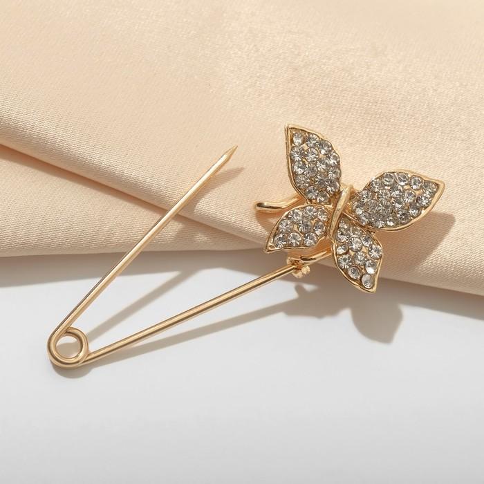 """Булавка """"Бабочка"""", 5 см, цвет белый в золоте"""