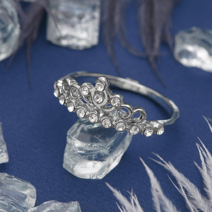 """Кольцо """"Корона"""", цвет белый в серебре, размер 17,18,19 МИКС"""