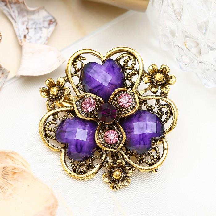 """Брошь """"Цветок любящий"""", лепестки в форме сердечка, цвет фиолетовый в чернёном золоте"""