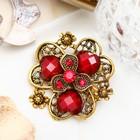 """Брошь """"Цветок любящий"""", лепестки в форме сердечка, цвет темно-красный в черненом золоте"""