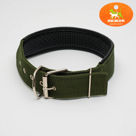 """Ошейник """"Комфорт"""" комбинированный (полиэстер, искусственная кожа), 70х4 см, темно-зеленый"""