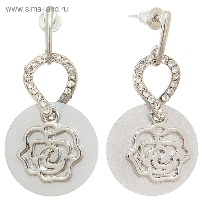 """Серьги-ассорти """"Цветок в круге"""" роза, цвет серый в серебре"""