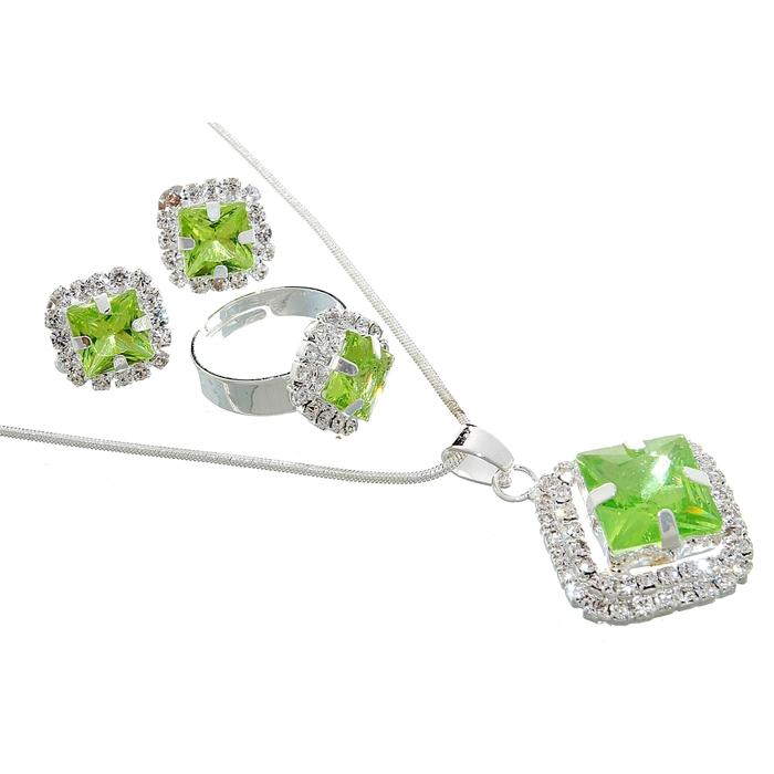 """Гарнитур 3 предмета: серьги, кулон, кольцо безразмерное """"Ромб"""" цвет светло-зеленый, 45см"""
