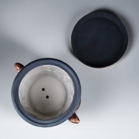 """Цветочный горшок """"Ящерица"""" акрил, серый, 6,5 л - фото 1693281"""