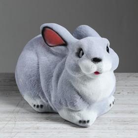 """Копилка """"Заяц"""", флок, серый цвет, 18 см"""