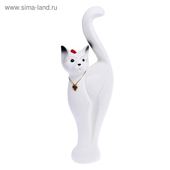 """Копилка """"Кошка Анфиса"""" большая, флок, белая"""