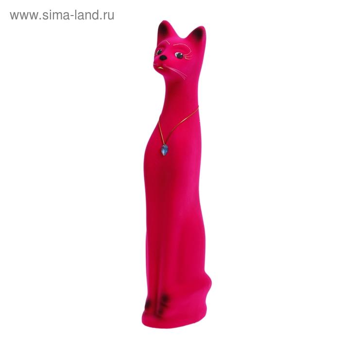 """Копилка """"Кот"""" большая, флок, розовая"""