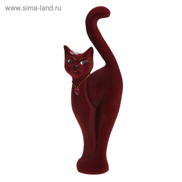 """Копилка """"Кошка Анфиса"""" большая, флок, бордовая"""