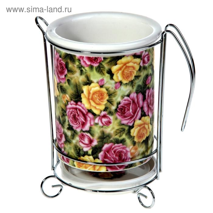 """Подставка для столовых приборов 16х10 см """"Поле роз"""""""