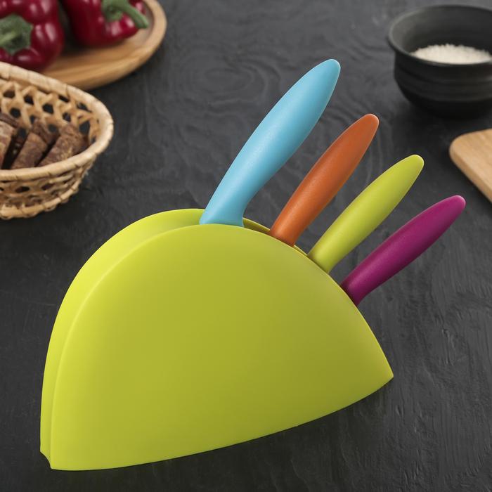 Набор кухонных ножей, 4 предмета, на подставке, цвет МИКС