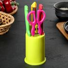 Набор кухонный, 4 предмета: 2 ножа 9,5/9 см, овощечистка, ножницы на подставке, цвета МИКС