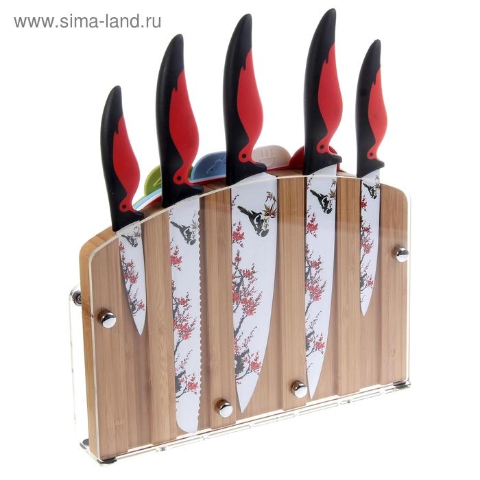 "Набор 9 предметов: 5 ножей 22,5/20/20/20/12,5/9 см, 4 доски на подставке ""Снегири"""