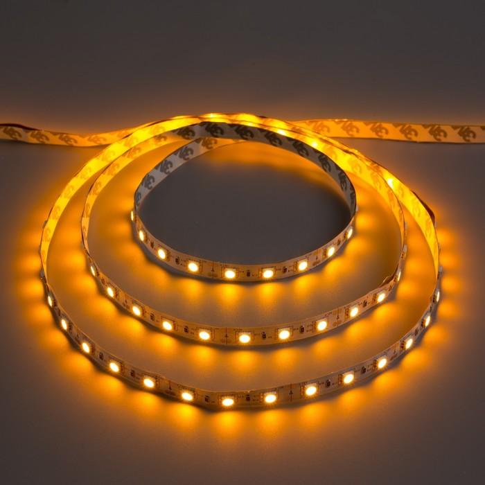 Светодиодная лента 12В, SMD5050, 5 м, IP33, 60 LED, 14.4 Вт/м, 14-16 Лм/1 LED, DC, ЖЁЛТЫЙ