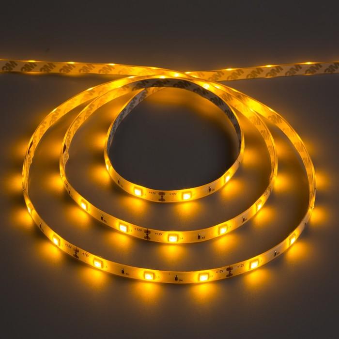 Светодиодная лента 12В, SMD5050, 5 м, IP65, 30 LED, 7.2 Вт/м, 14-16 Лм/1 LED, DC, ЖЁЛТЫЙ