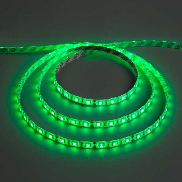 Светодиодная лента 12В, SMD5050, 5 м, IP65, 60 LED, 14.4 Вт/м, 14-16 Лм/1 LED, DC, ЗЕЛЁНЫЙ