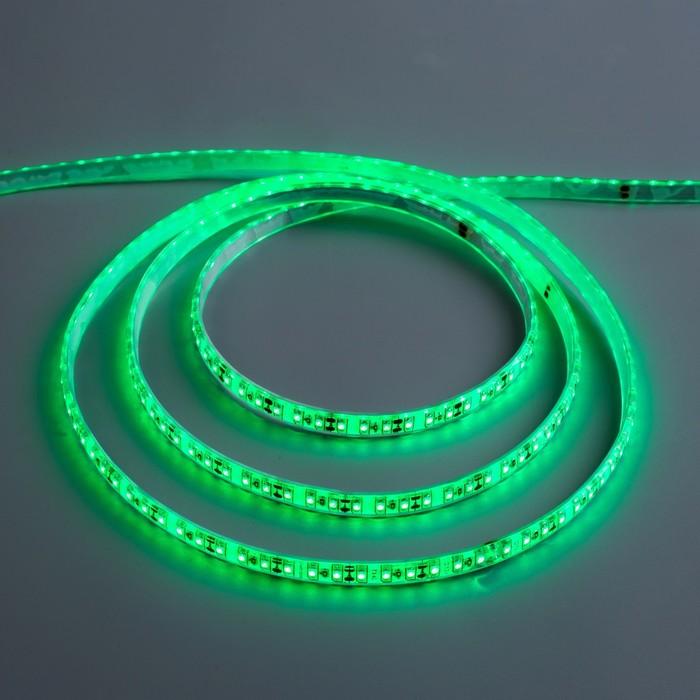 Светодиодная лента 12В, SMD3528, 5 м, IP68, 120 LED, 9.6 Вт/м, 6-7 Лм/1 LED, DC, ЗЕЛЁНЫЙ